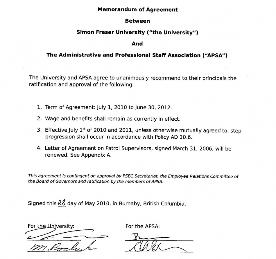 Memorandum of Agreement: 2010-